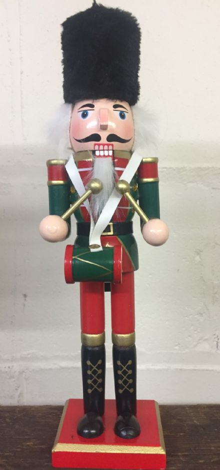 Hand Painted Wooden Nutcracker Traditional Christmas Ornament ~ Playing Drum